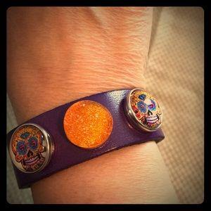 Jewelry - Purple leather 3 snap bracelet- BRAND NEW!
